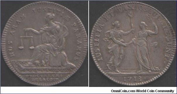Silver jeton isued for the Solicitors for the Kings administration (Procureurs De la Cour). Obverse Justice seated with scales of justice. Reverse Justice hand in hand with Peace.