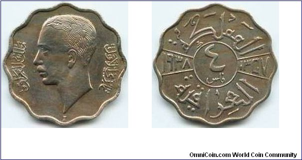Iraq, 4 fils 1358 (1938).