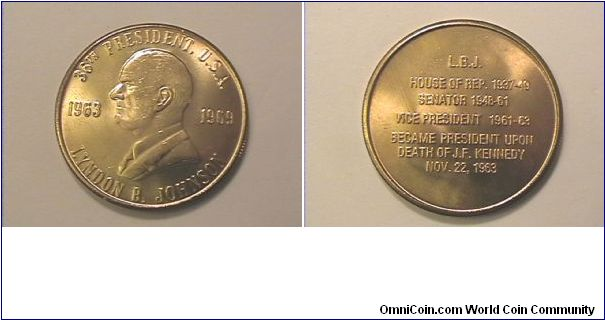 36th US President Lyndon B. Johnson medal
