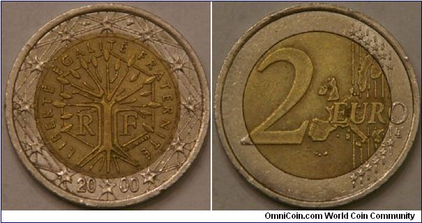 2 Euro, a tree symbolising life, continuity and growth, outer Cu-NI, inner layered Ni-Brass--Ni--Ni-Brass, 25.75 mm