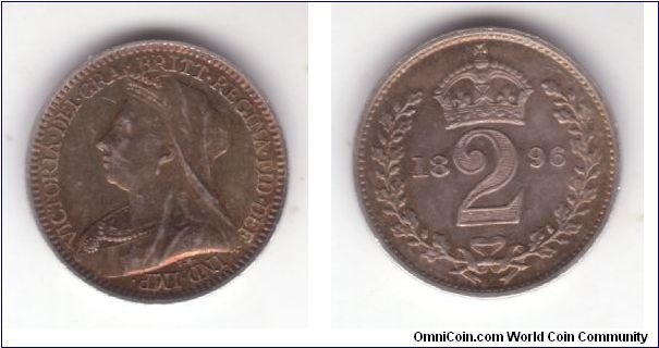 KM-776, Great Britain 1896 maundy 2 pence; proof like nicely toned.