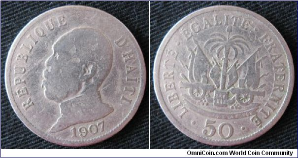 Republique d'Haiti, 50 centimes, obverse bust of Pierre Nord Alexis, overthrown the following year.  Coin pulled from circulation in Port-au-Prince.