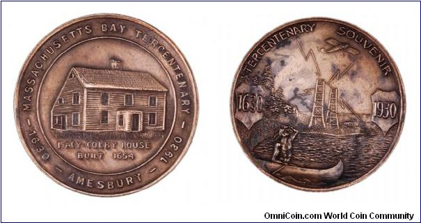 766542d9292 Massachusetts Bay Terecentenary 1930 - Exonumia Virtual Museum ...