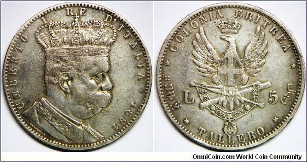 Italian Colony, Umberto I (1889 - 1900), 5 LIRE/TALLERO, 1891. Silver. Obv.: Crowned bust right. Rv.: Spread eagle standing on scepter & scabbard. Eritrea, located on the Red Sea coast, was a sleepy little area until the completion of the Suez Canal in 1869. Suddenly, Eritrea was adjacent to the world's busiest shipping lane. Italy went in with Europe's blessing to consolidate the area into an Italian territory. Eritrea was controlled by Italy from 1890 until 1941. Rare.