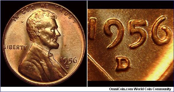 1956D Lincoln Cent, Over Mint Mark, D over S