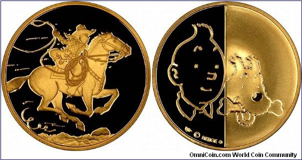 Tintin in America. One of a set of 12 gold medals featuring the most famous Belgian.