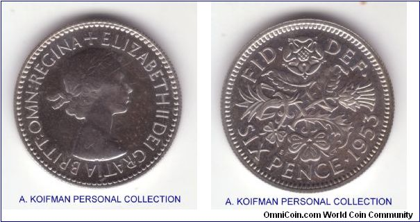 KM-889, 1953 Great Britain proof six pence; reeded edge copper nickel, nice