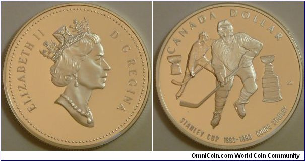 Canada, 1 dollar, 1993 100th anniversary of the Stanley Cup, silver dollar