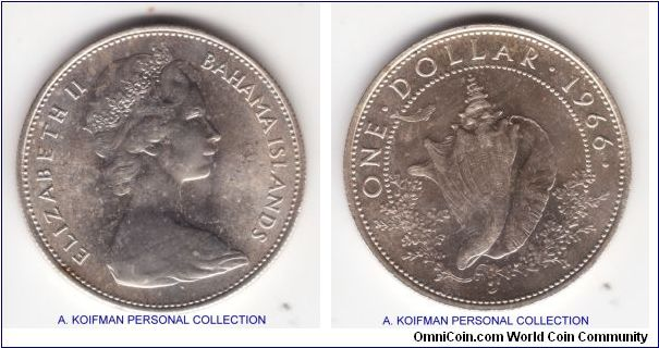 KM-8, 1966 Bahamas dollar; silver, reeded edge; average uncirculated but with the bag and some minor handling marks.