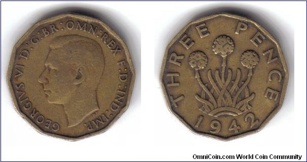 Great Britain, 3 Pence, 1942
