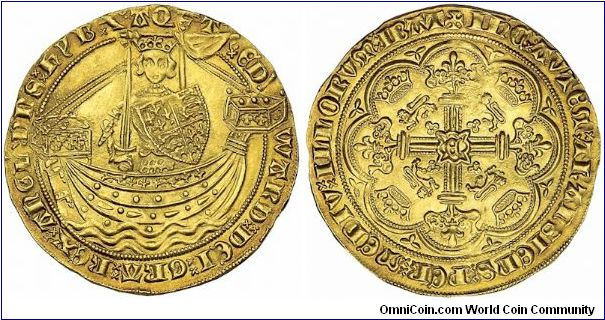 Gold nobel from Edward III(1327-1377)This is a treaty period noble issued during the brief time that France and England were not at war and Edward III was not claiming French titles.  This is S-1502.