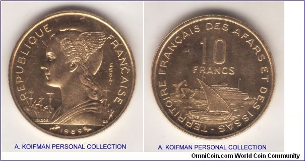 KM-E5, 1969 French Afars and Issas 10 francs essai; aluminum bronze, plain edge; Modern French colonial mintage, 1,700 pieces minted.