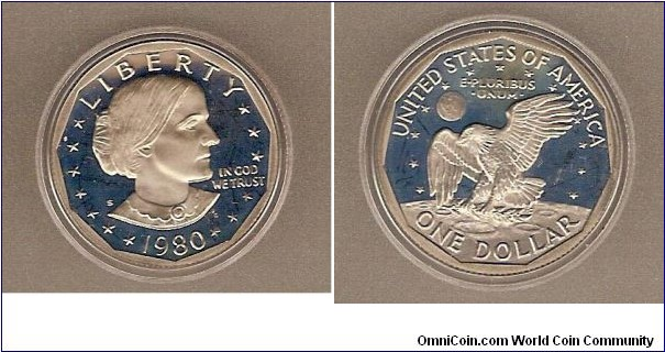 Susan B. Anthony/Apollo XI.  Cameo proof.