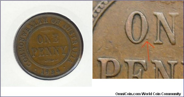 1934 Penny. Dot between 'ON'