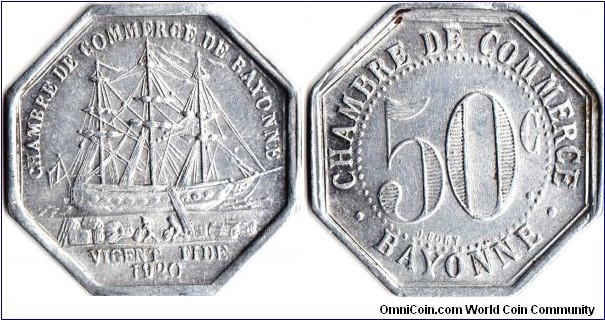 Bayonne 50c (aluminium) emergency coinage minted in 1920 and issued by Bayonne Chambre de Commerce for use in the Bayonne area to facilitate trade